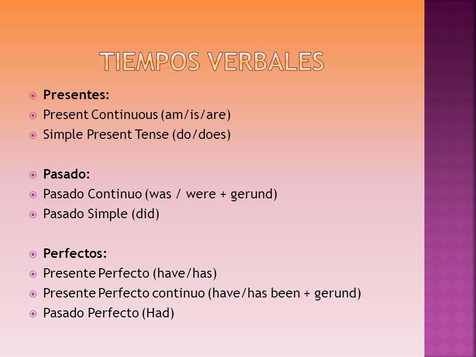Tiempos Verbales Presentes: Present Continuous (am/is/are)