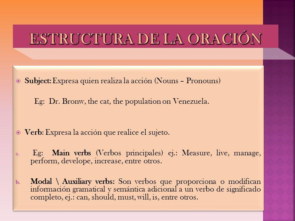 ESTRUCTURA DE LA ORACIÓN