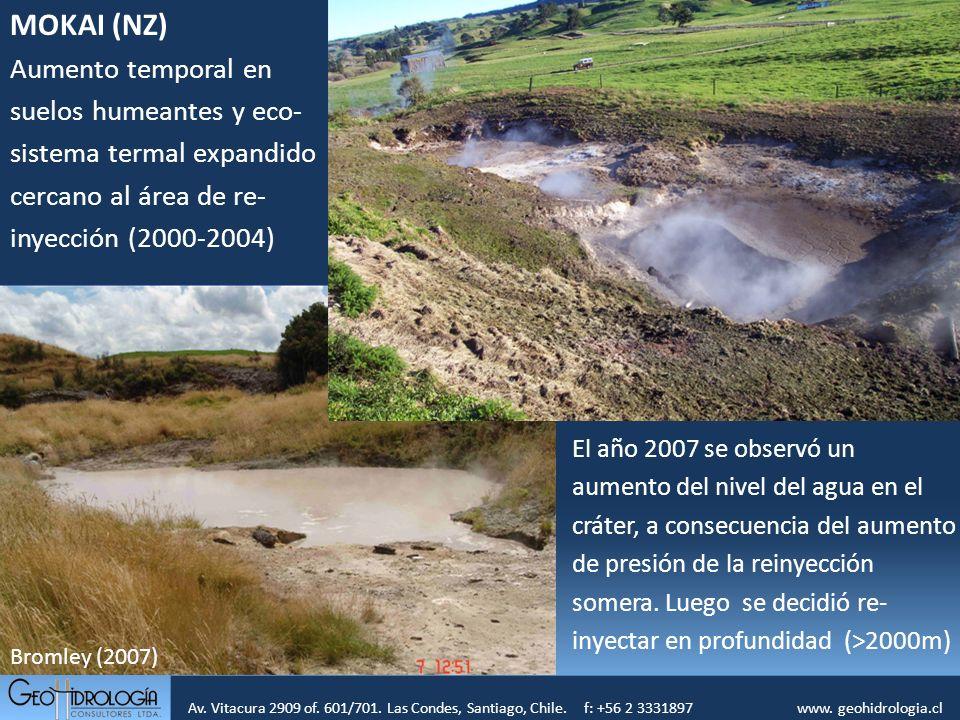 MOKAI (NZ) Aumento temporal en suelos humeantes y eco-