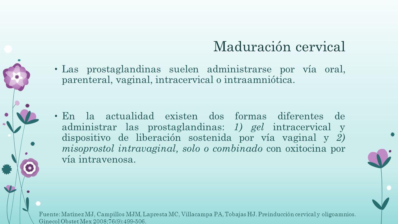 Maduración cervical Las prostaglandinas suelen administrarse por vía oral, parenteral, vaginal, intracervical o intraamniótica.