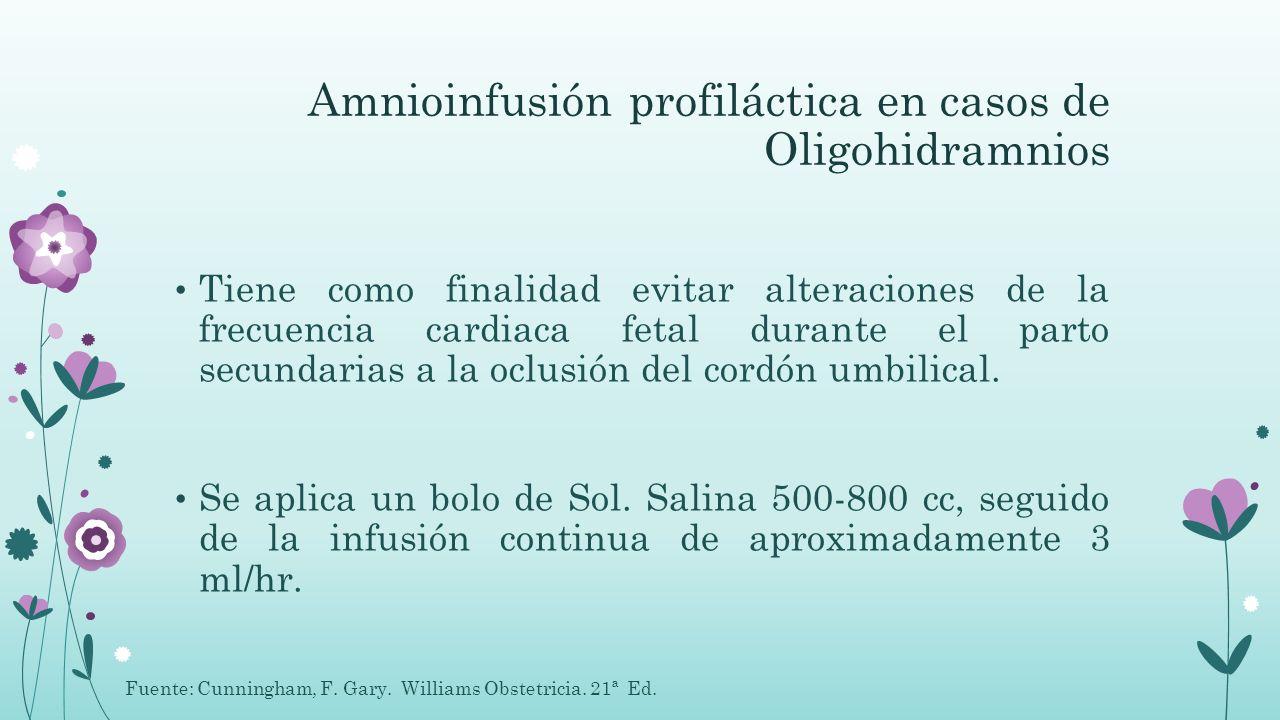 Amnioinfusión profiláctica en casos de Oligohidramnios