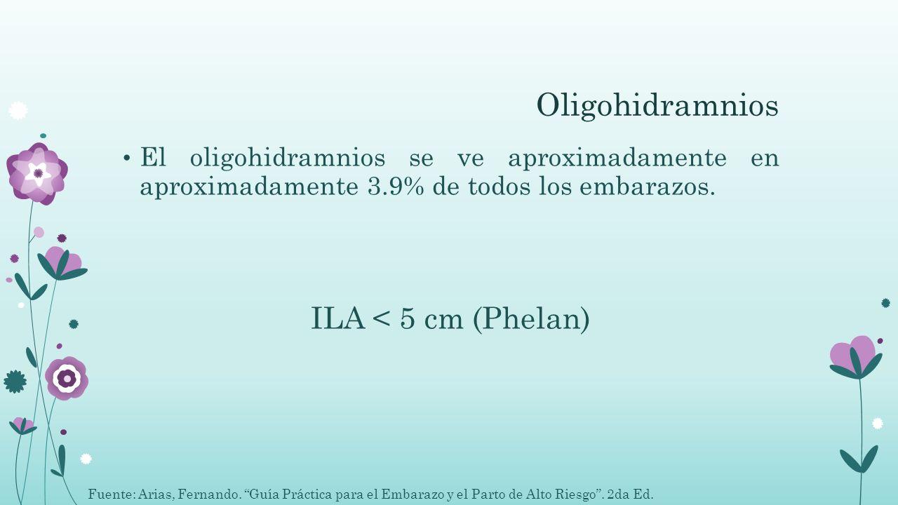 Oligohidramnios ILA < 5 cm (Phelan)