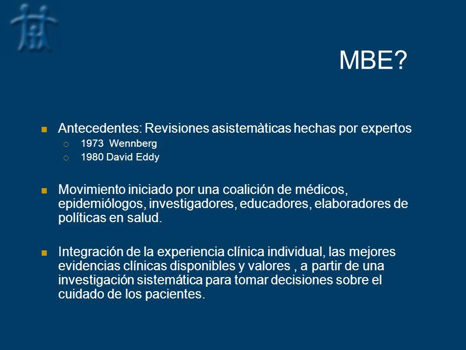 MBE Antecedentes: Revisiones asistemàticas hechas por expertos
