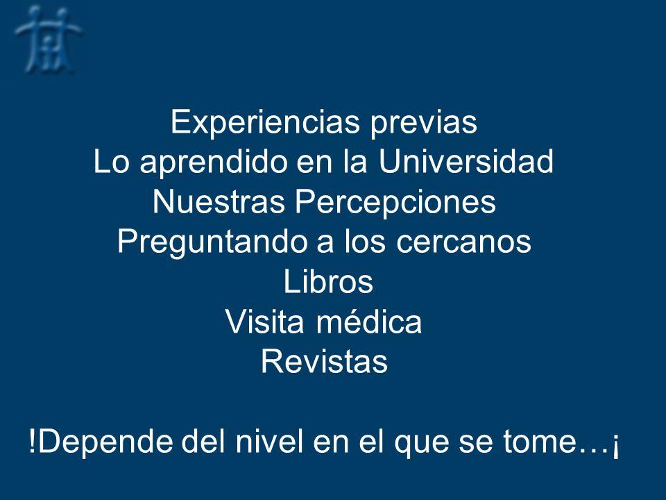 Experiencias previas Lo aprendido en la Universidad Nuestras Percepciones Preguntando a los cercanos Libros Visita médica Revistas !Depende del nivel en el que se tome…¡