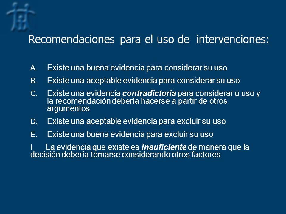 Recomendaciones para el uso de intervenciones:
