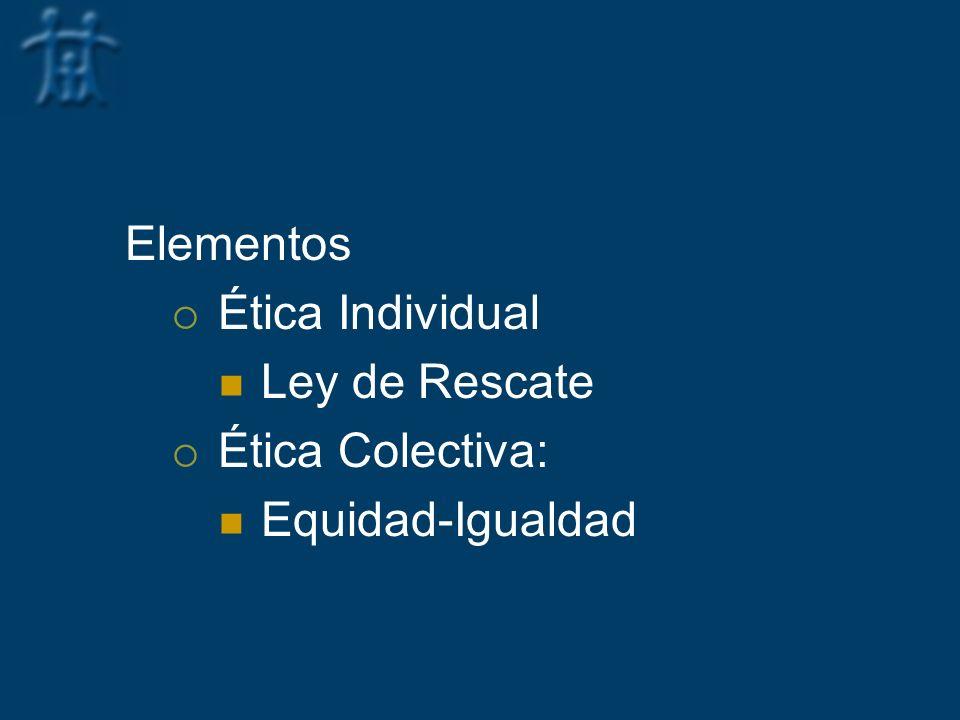 Elementos Ética Individual Ley de Rescate Ética Colectiva: Equidad-Igualdad