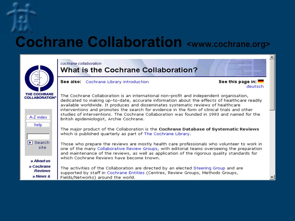 Cochrane Collaboration <www.cochrane.org>