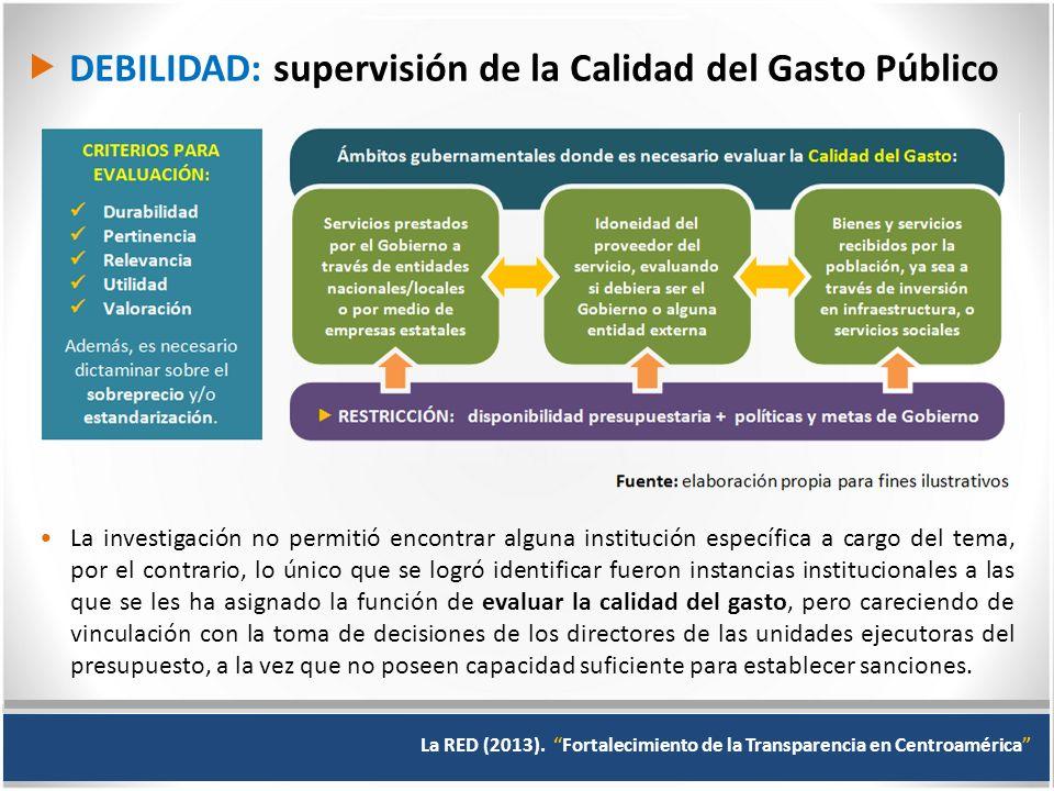  DEBILIDAD: supervisión de la Calidad del Gasto Público