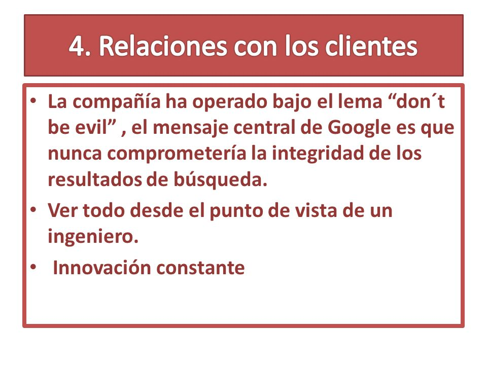 4. Relaciones con los clientes