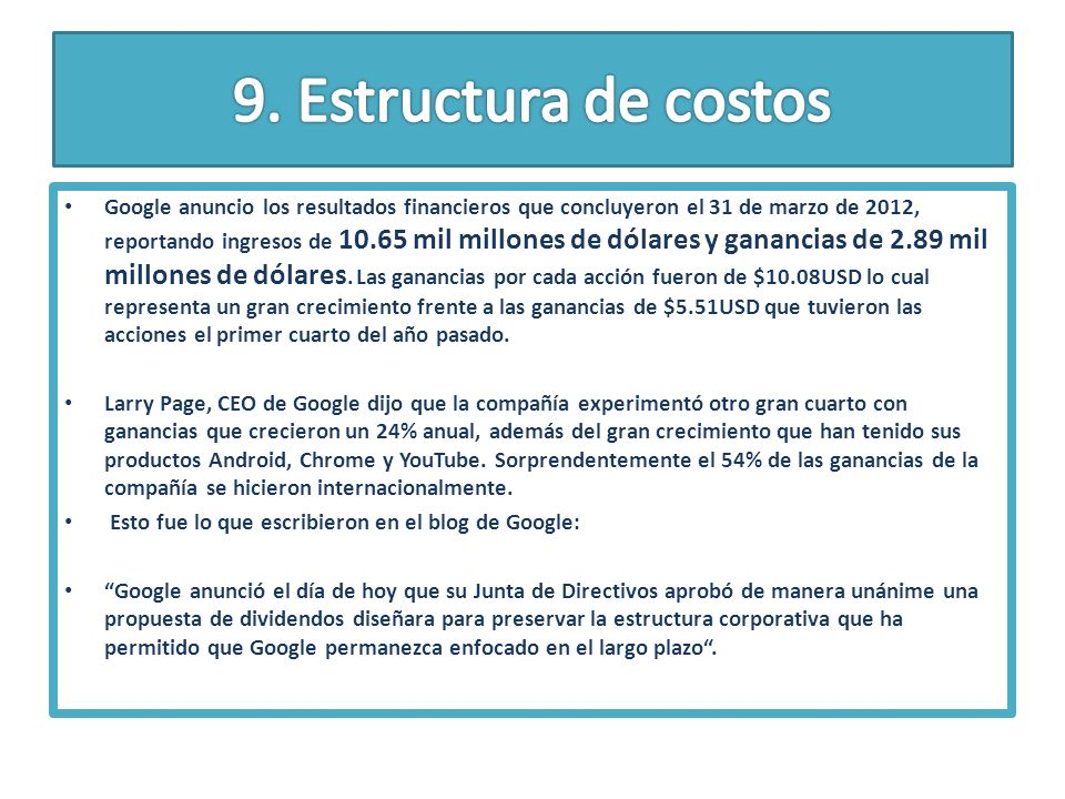 9. Estructura de costos