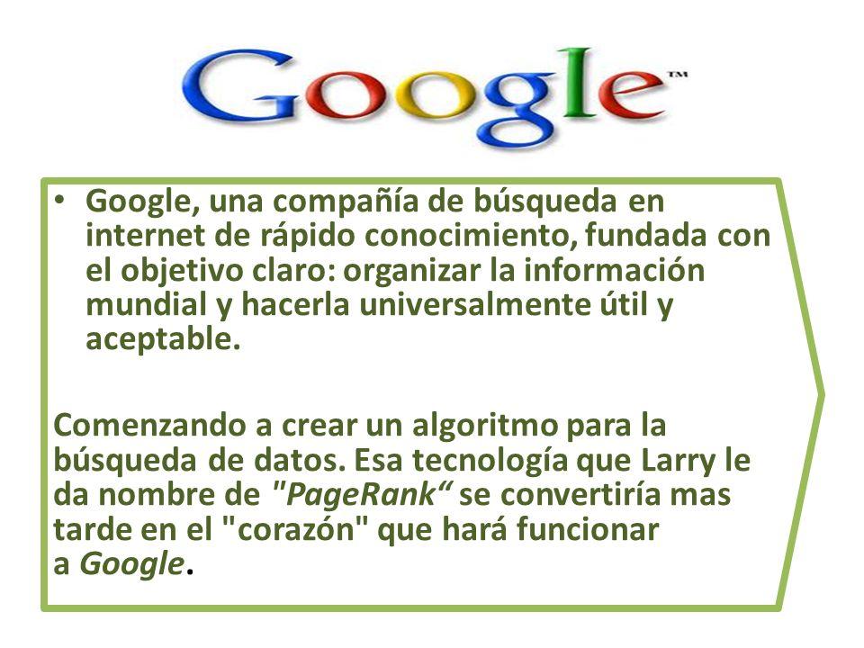 Google, una compañía de búsqueda en internet de rápido conocimiento, fundada con el objetivo claro: organizar la información mundial y hacerla universalmente útil y aceptable.