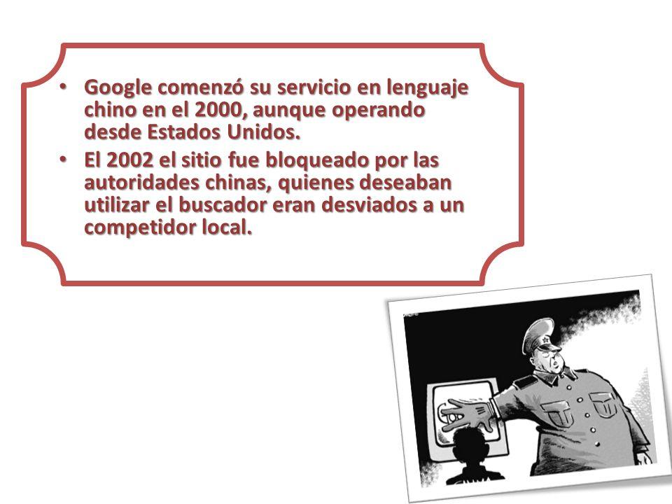 Google comenzó su servicio en lenguaje chino en el 2000, aunque operando desde Estados Unidos.