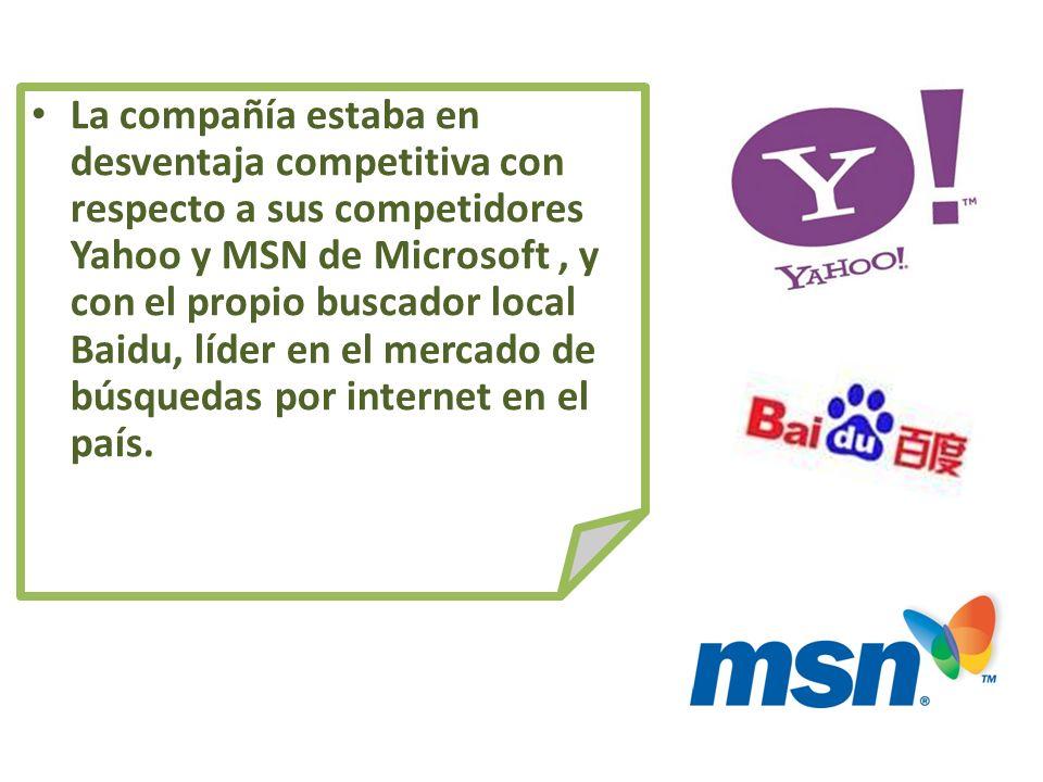 La compañía estaba en desventaja competitiva con respecto a sus competidores Yahoo y MSN de Microsoft , y con el propio buscador local Baidu, líder en el mercado de búsquedas por internet en el país.