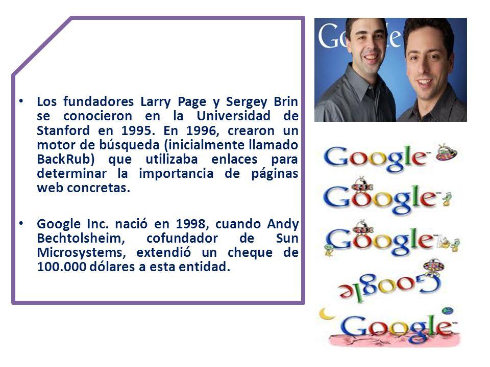 Los fundadores Larry Page y Sergey Brin se conocieron en la Universidad de Stanford en 1995. En 1996, crearon un motor de búsqueda (inicialmente llamado BackRub) que utilizaba enlaces para determinar la importancia de páginas web concretas.