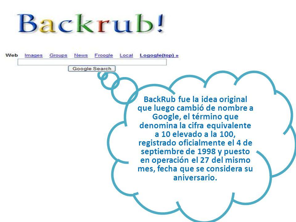 BackRub fue la idea original que luego cambió de nombre a Google, el término que denomina la cifra equivalente a 10 elevado a la 100, registrado oficialmente el 4 de septiembre de 1998 y puesto en operación el 27 del mismo mes, fecha que se considera su aniversario.