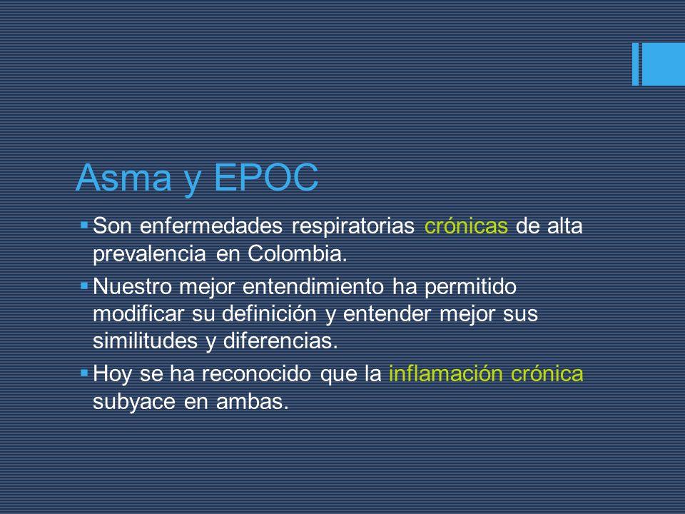 Asma y EPOC Son enfermedades respiratorias crónicas de alta prevalencia en Colombia.