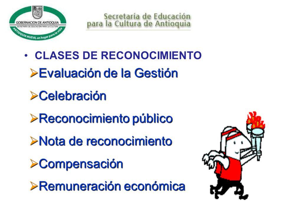 Evaluación de la Gestión Celebración Reconocimiento público