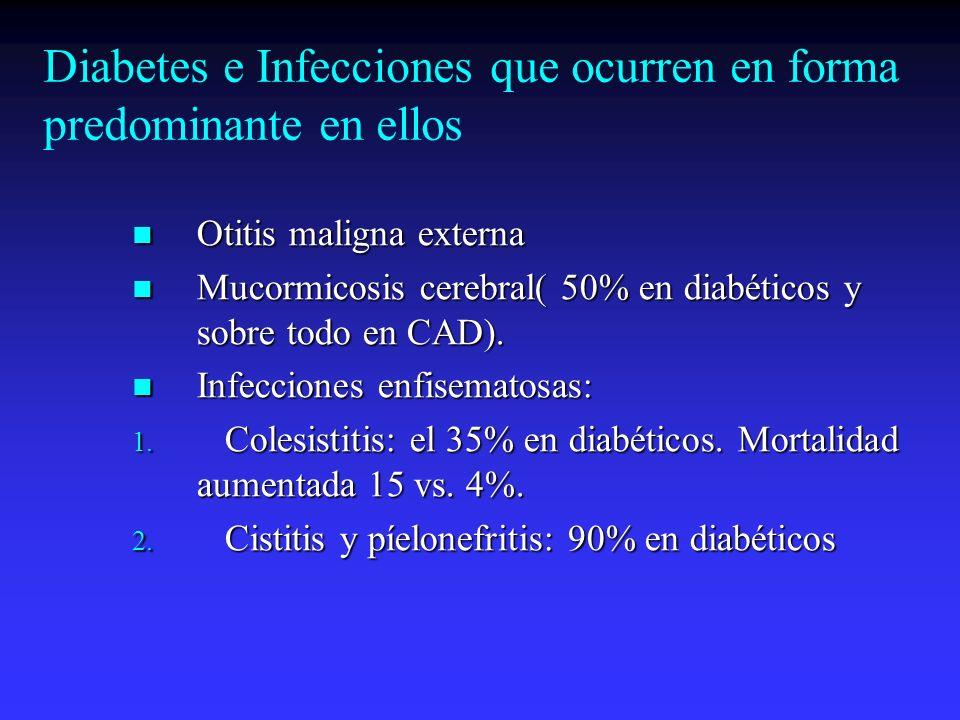 Diabetes e Infecciones que ocurren en forma predominante en ellos