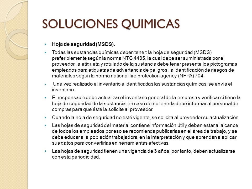 SOLUCIONES QUIMICAS Hoja de seguridad (MSDS).