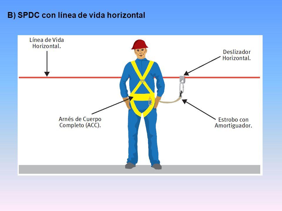 B) SPDC con línea de vida horizontal