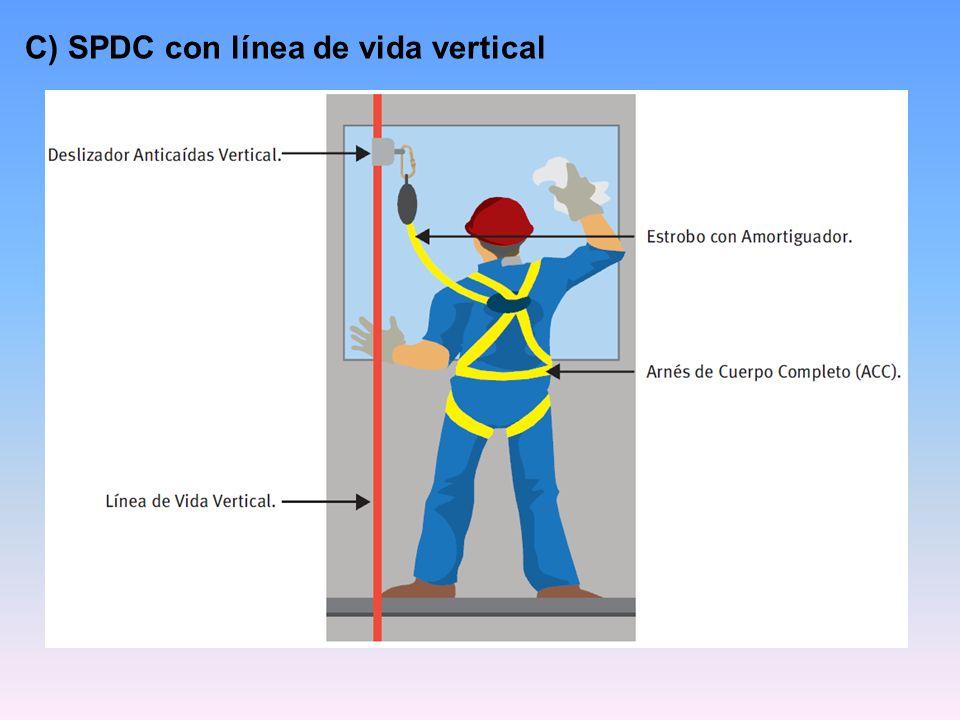 C) SPDC con línea de vida vertical