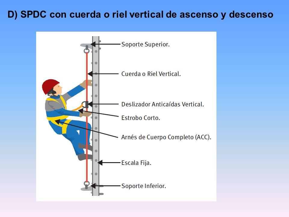 D) SPDC con cuerda o riel vertical de ascenso y descenso