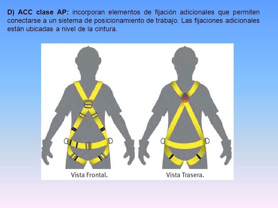 D) ACC clase AP: incorporan elementos de fijación adicionales que permiten conectarse a un sistema de posicionamiento de trabajo.