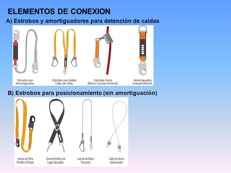 ELEMENTOS DE CONEXION A) Estrobos y amortiguadores para detención de caídas.