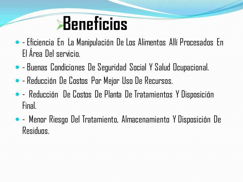 Beneficios - Eficiencia En La Manipulación De Los Alimentos Allí Procesados En El Área Del servicio.