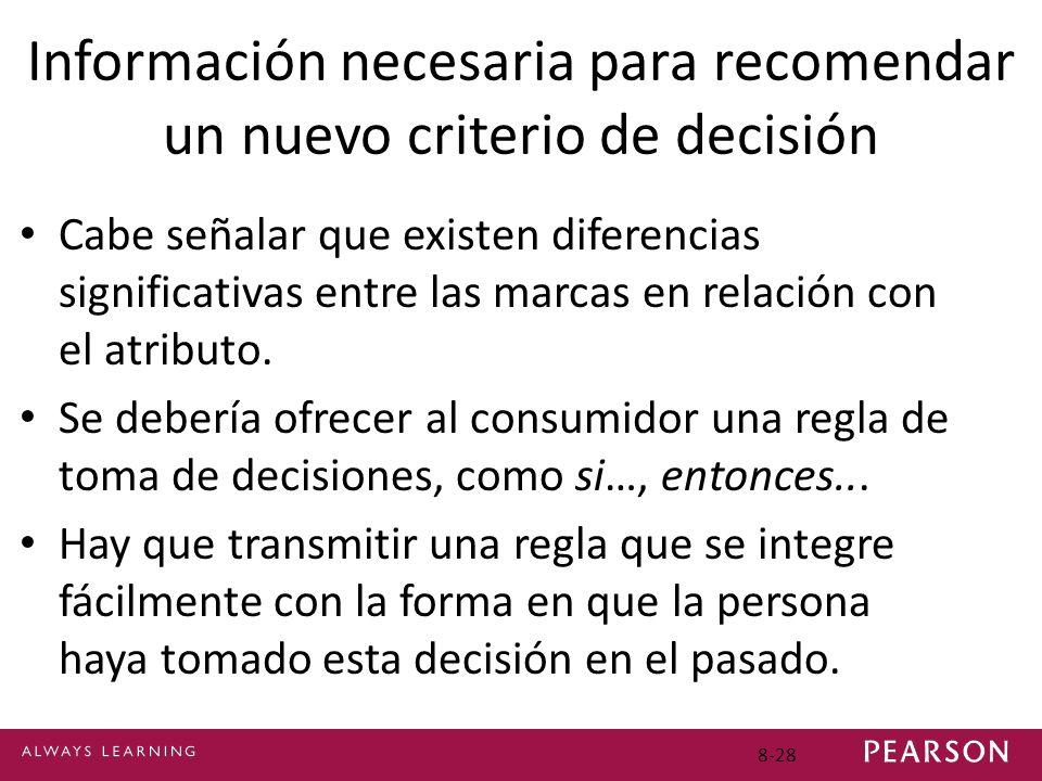 Información necesaria para recomendar un nuevo criterio de decisión