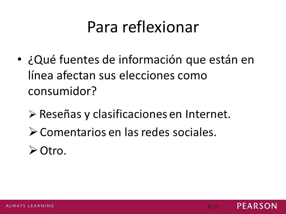 Para reflexionar ¿Qué fuentes de información que están en línea afectan sus elecciones como consumidor