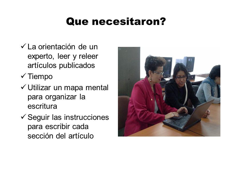Que necesitaron La orientación de un experto, leer y releer artículos publicados. Tiempo. Utilizar un mapa mental para organizar la escritura.