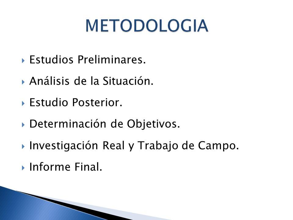METODOLOGIA Estudios Preliminares. Análisis de la Situación.