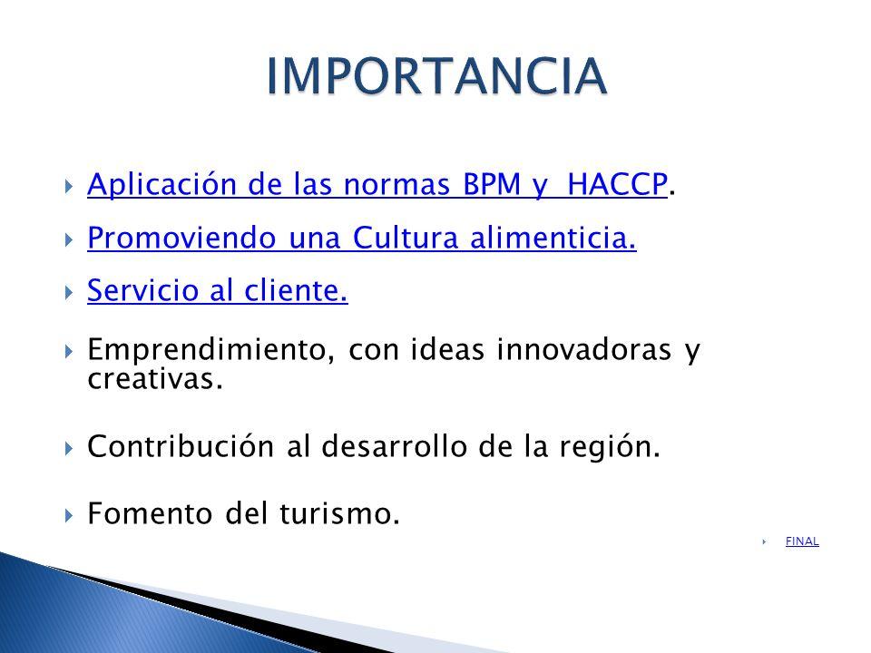 IMPORTANCIA Aplicación de las normas BPM y HACCP.