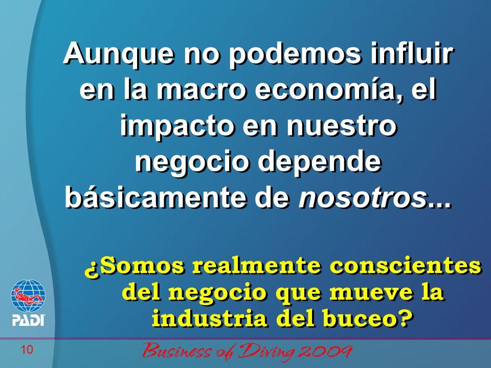 Business of Diving 2009 Aunque no podemos influir en la macro economía, el impacto en nuestro negocio depende básicamente de nosotros...