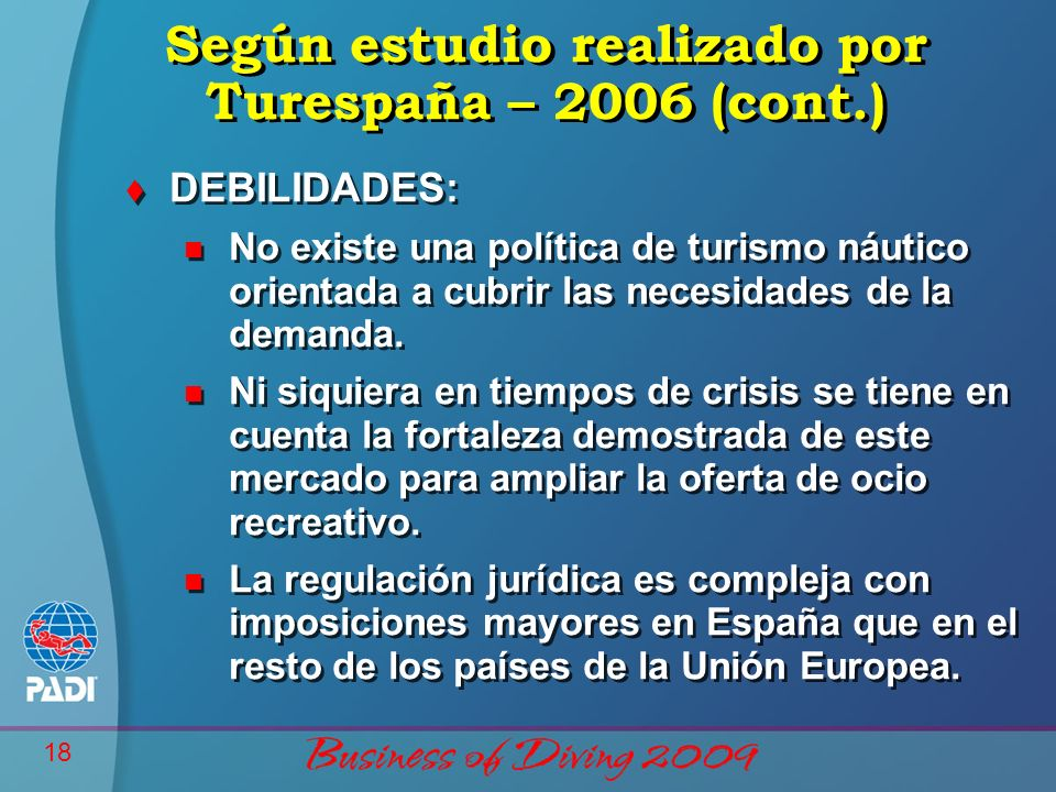 Según estudio realizado por Turespaña – 2006 (cont.)