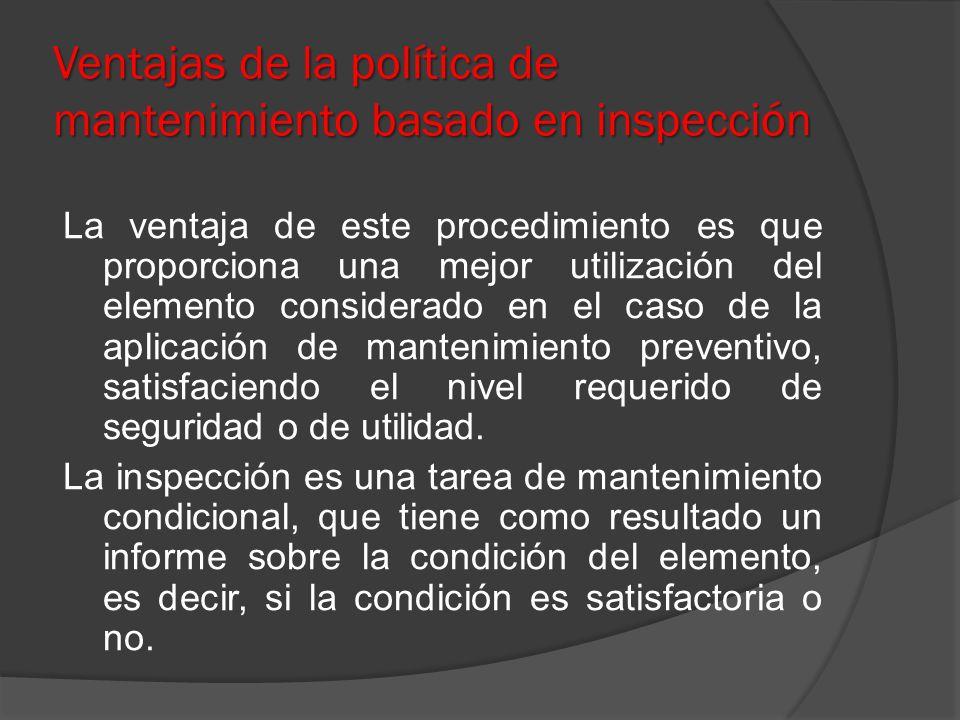 Ventajas de la política de mantenimiento basado en inspección
