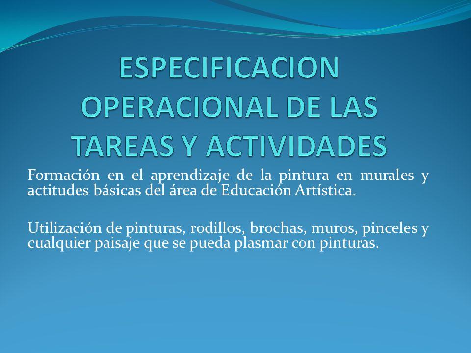 ESPECIFICACION OPERACIONAL DE LAS TAREAS Y ACTIVIDADES