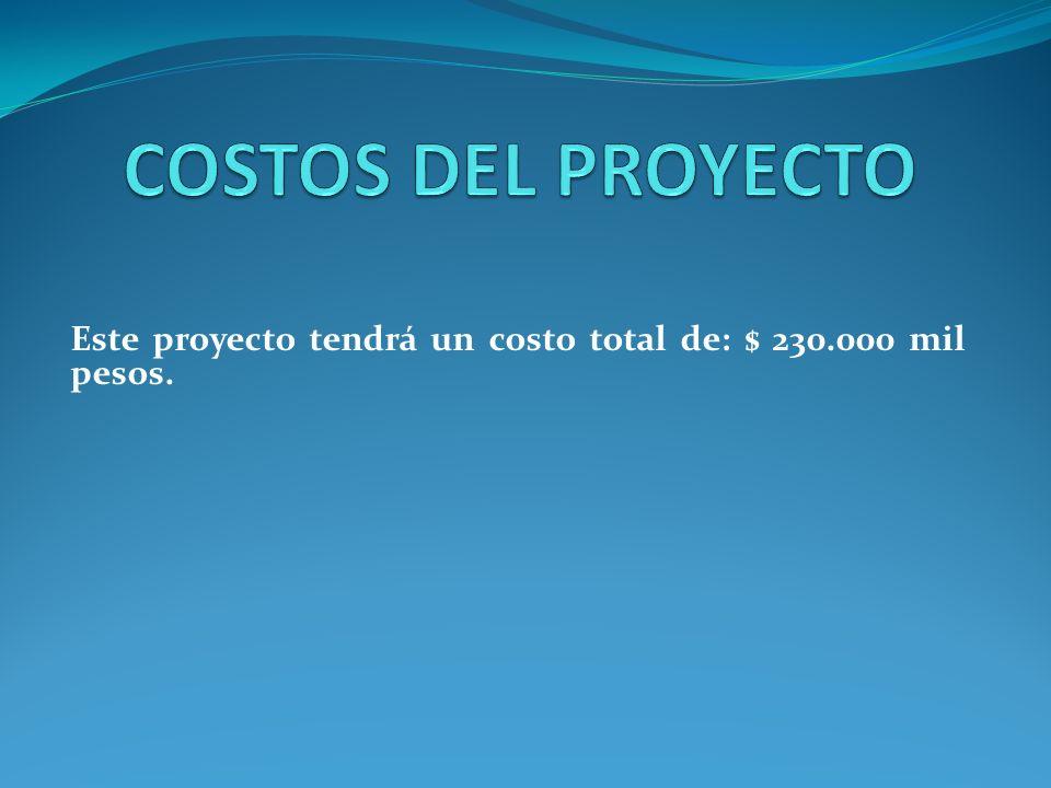 Este proyecto tendrá un costo total de: $ 230.000 mil pesos.