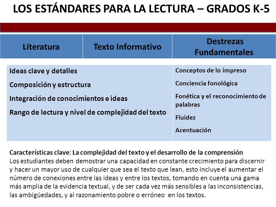 LOS ESTÁNDARES PARA LA LECTURA – GRADOS K-5