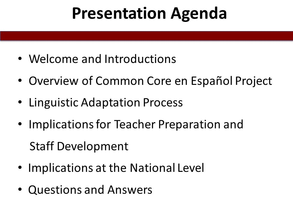 Presentation Agenda Welcome and Introductions