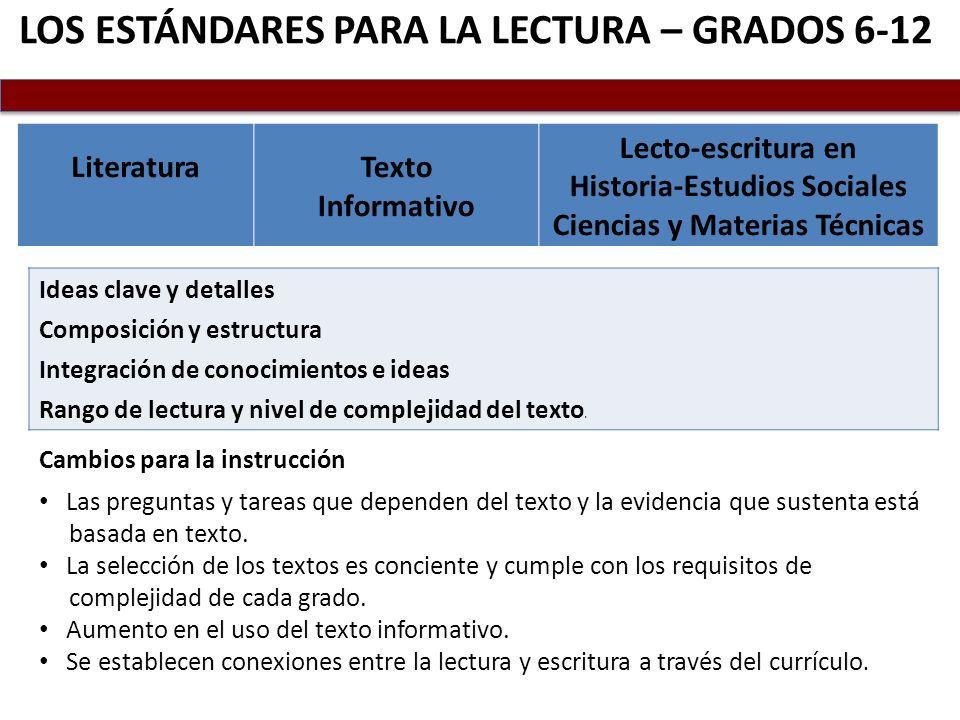 Los estándares para La Lectura – Grados 6-12