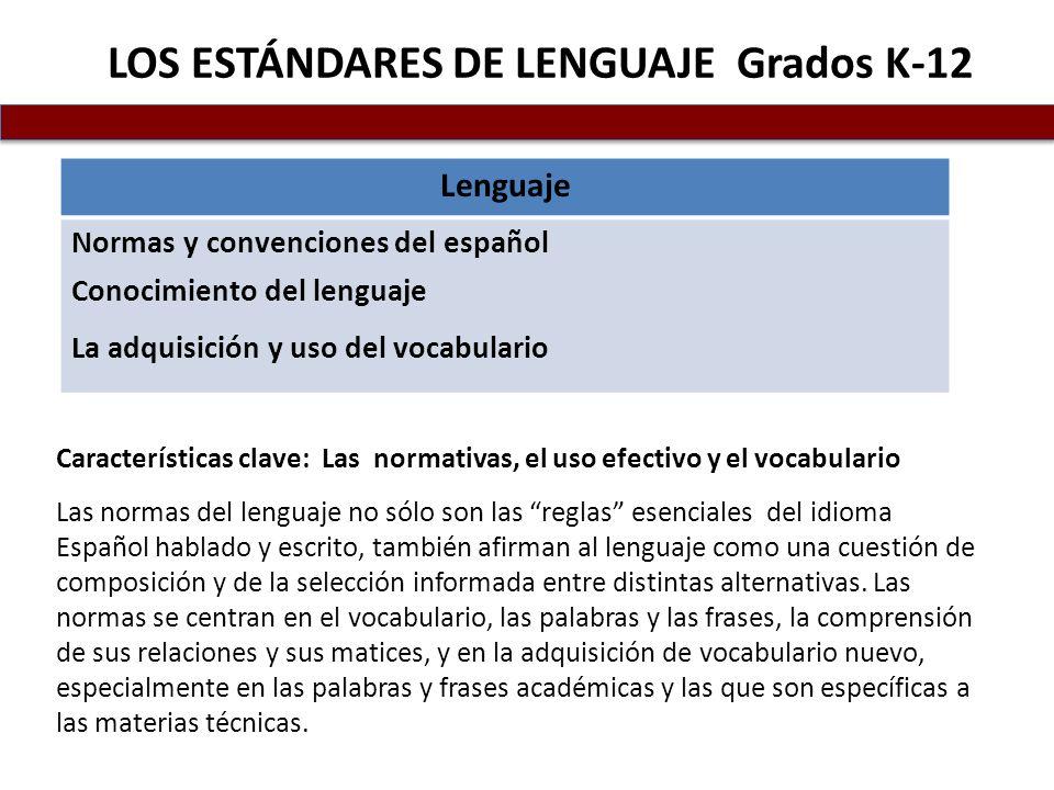 LOS ESTÁNDARES DE LENGUAJE Grados K-12
