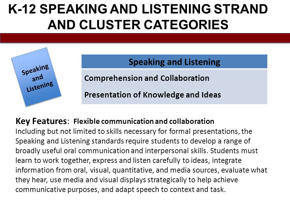 K-12 SPEAKING AND LISTENING STRAND AND CLUSTER CATEGORIES