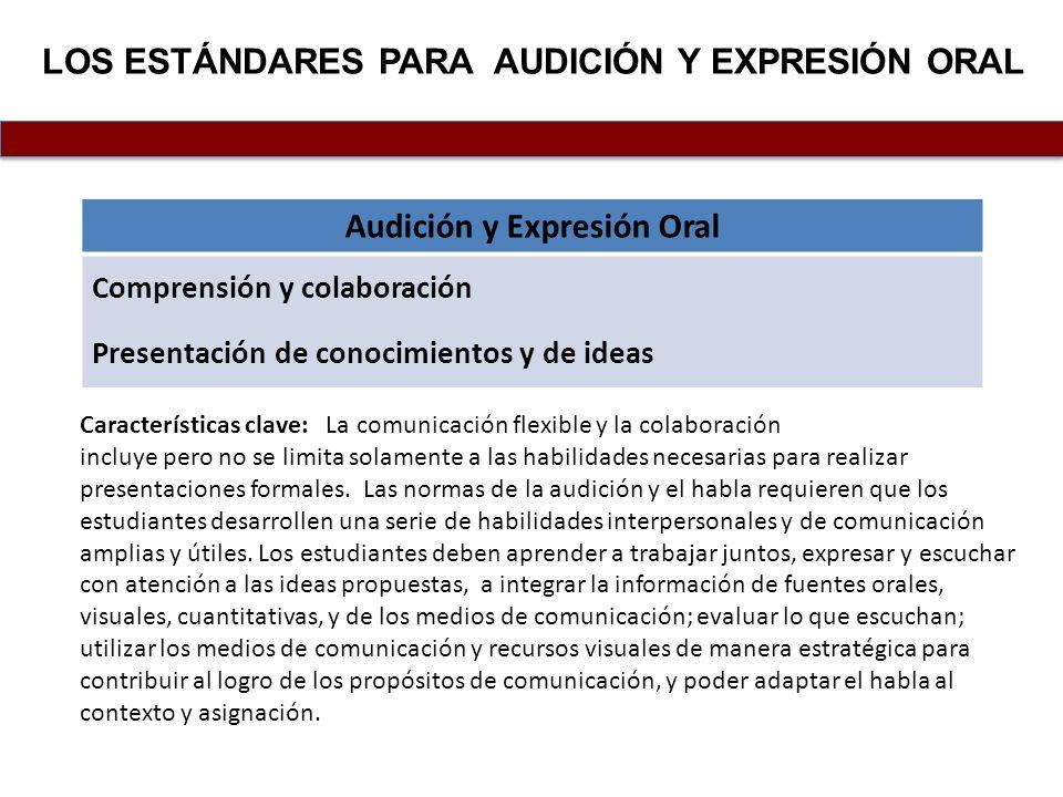 LOS estándares para audición Y EXPRESIÓN ORAL