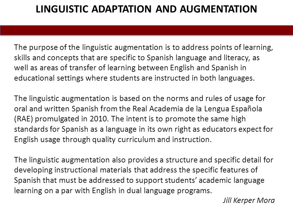 LINGUISTIC ADAPTATION AND AUGMENTATION