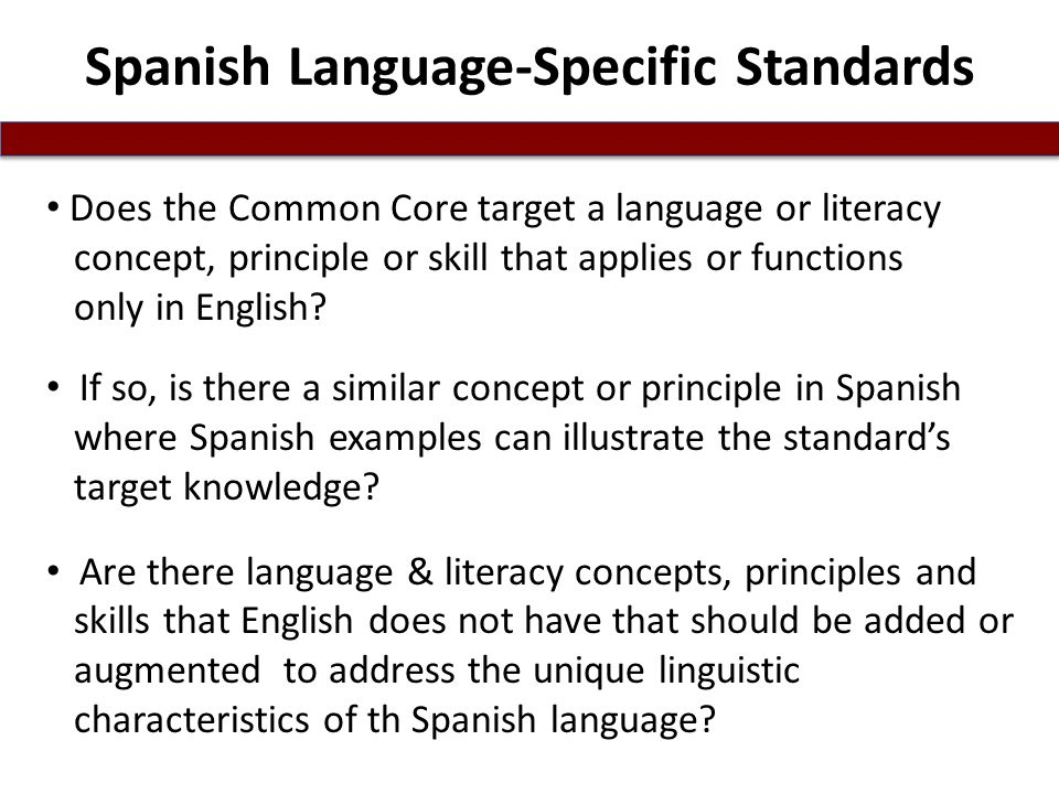 Spanish Language-Specific Standards