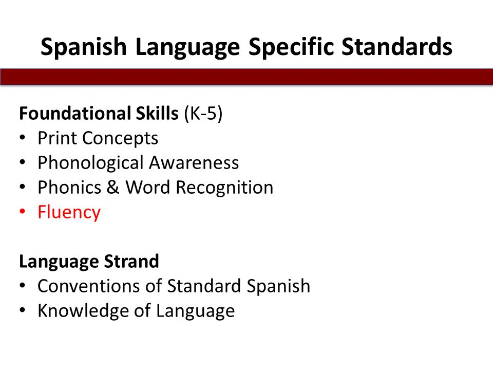 Spanish Language Specific Standards