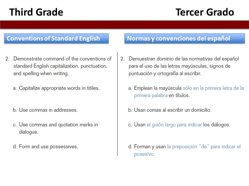 Third Grade Tercer Grado Conventions of Standard English