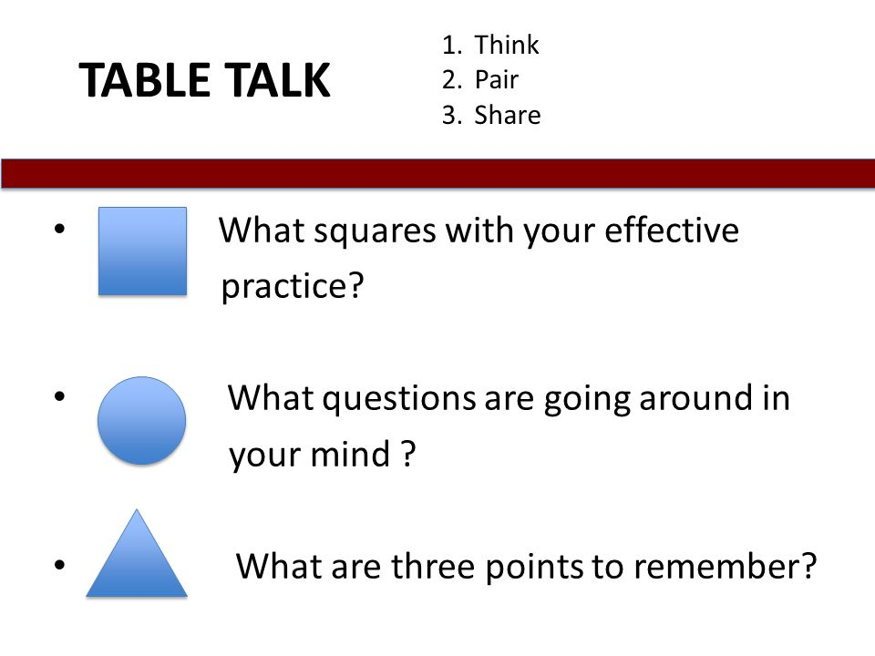 TABLE TALK What squares with your effective practice